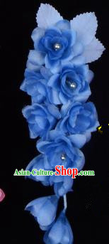 Traditional Beijing Opera Diva Hair Accessories Temples Deep Blue Silk Flowers Head Ornaments Hairpins, Ancient Chinese Peking Opera Hua Tan Hair Stick Headwear