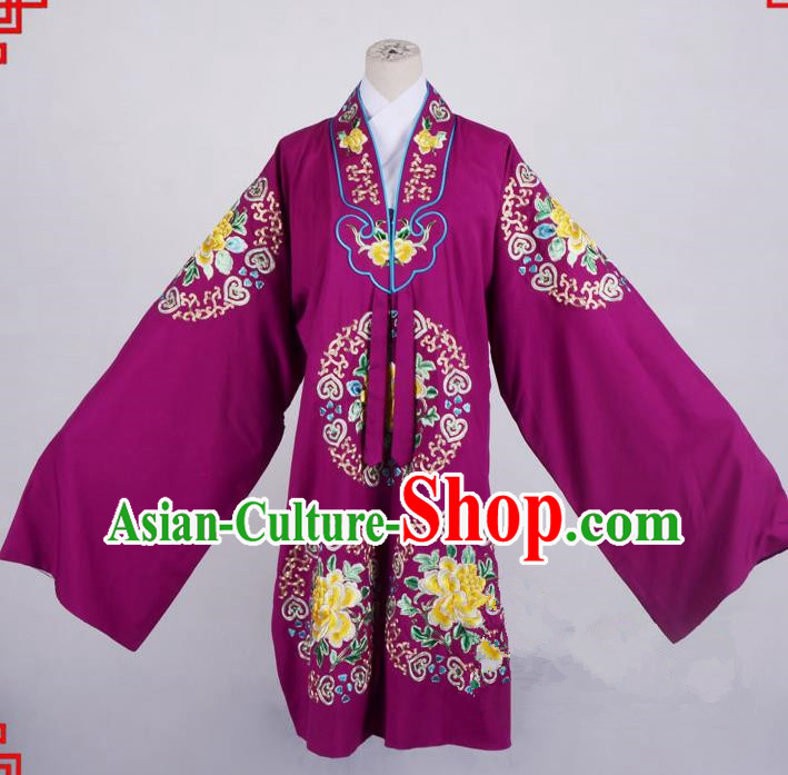 Top Grade Professional Beijing Opera Palace Lady Costume Hua Tan Purple Embroidered Cape, Traditional Ancient Chinese Peking Opera Diva Wedding Embroidery Clothing