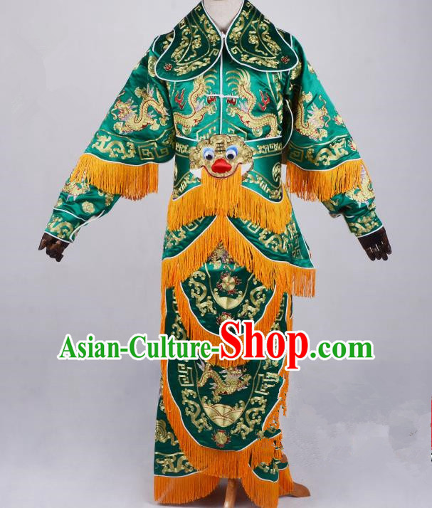 Top Grade Professional Beijing Opera General Costume Green Silk Embroidered Robe, Traditional Ancient Chinese Peking Opera Military Officer Embroidery Robe Clothing