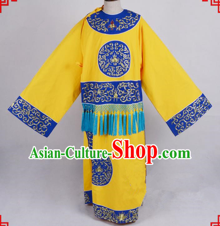 Top Grade Professional Beijing Opera Costume Eunuch Yellow Silk Embroidered Robe, Traditional Ancient Chinese Peking Opera Embroidery Clothing
