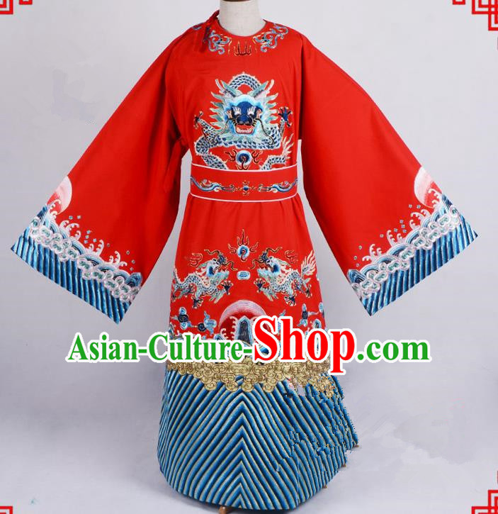 Top Grade Professional Beijing Opera Emperor Costume General Red Silk Embroidered Robe and Belts, Traditional Ancient Chinese Peking Opera Royal Highness Embroidery Dragons Clothing