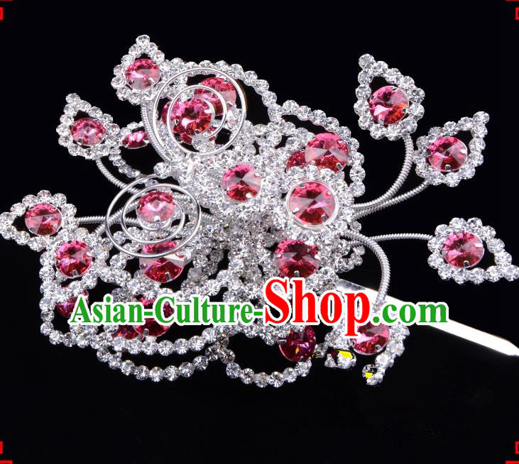 Traditional Beijing Opera Diva Hair Accessories Pink Crystal Butterfly Large Hairpins, Ancient Chinese Peking Opera Hua Tan Hair Stick Headwear