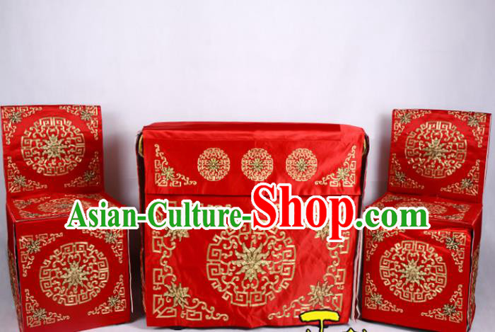 Traditional Beijing Opera Props Tablecloth, Ancient Chinese Peking Opera Wedding Red Satin Spread