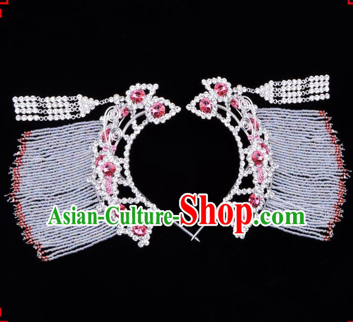 Traditional Beijing Opera Diva Hair Accessories Pink Crystal Hairpins Temples Curtain Step Shake, Ancient Chinese Peking Opera Hua Tan Hair Stick Headwear