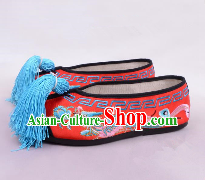 Traditional Beijing Opera Hua Tan Embroidered Shoes Princess Red Shoes, Ancient Chinese Peking Opera Diva Embroidered Phoenix Blood Stained Shoes