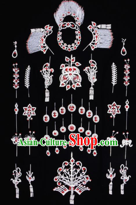 Traditional Beijing Opera Diva Hair Accessories Red Crystal Butterfly Head Ornaments Complete Set, Ancient Chinese Peking Opera Hua Tan Hairpins Phoenix Step Shake Headwear