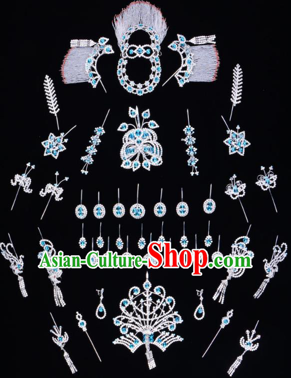 Traditional Beijing Opera Diva Hair Accessories Blue Crystal Butterfly Head Ornaments Complete Set, Ancient Chinese Peking Opera Hua Tan Hairpins Phoenix Step Shake Headwear