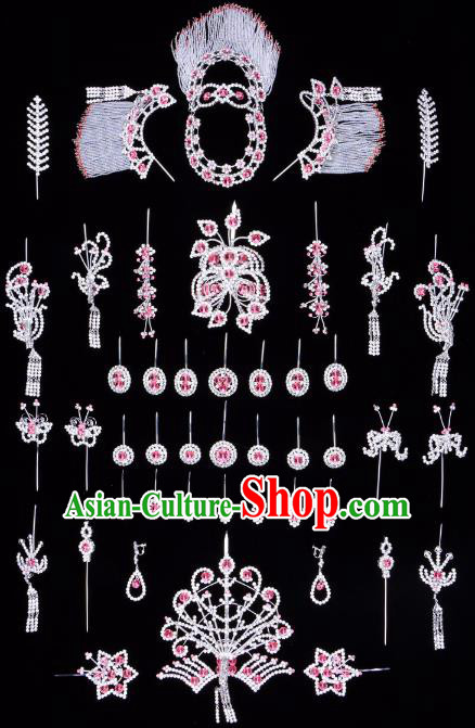 Traditional Beijing Opera Diva Hair Accessories Pink Crystal Butterfly Head Ornaments Complete Set, Ancient Chinese Peking Opera Hua Tan Hairpins Phoenix Step Shake Headwear