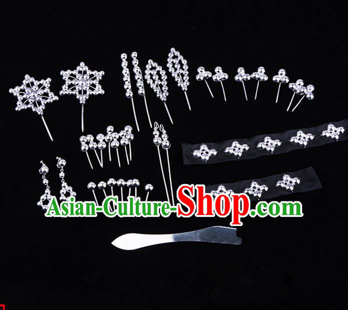 Traditional Beijing Opera Diva Hair Accessories Head Ornaments Complete Set, Ancient Chinese Peking Opera Hua Tan Hairpins Phoenix Step Shake Headwear