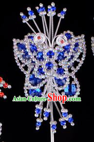 Traditional Beijing Opera Diva Hair Accessories Royalblue Crystal Butterfly Head Ornaments Hairpins, Ancient Chinese Peking Opera Hua Tan Hairpins Headwear