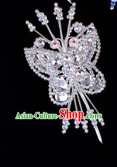 Traditional Beijing Opera Diva Hair Accessories Crystal Butterfly Head Ornaments Hairpin, Ancient Chinese Peking Opera Hua Tan Hairpins Headwear