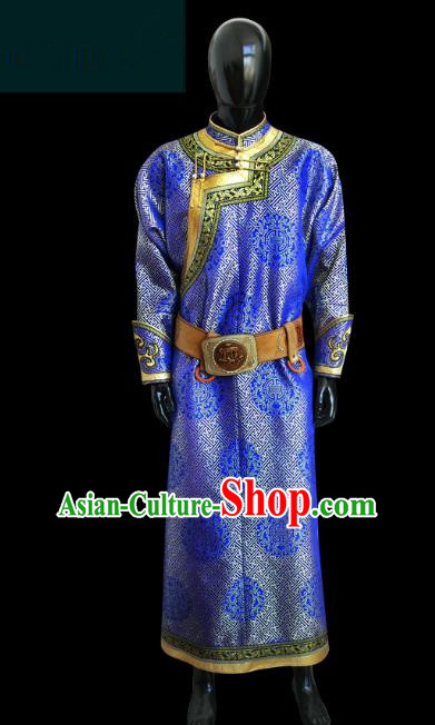 Traditional Chinese Mongol Nationality Dance Costume Royalblue Mongolian Robe, Chinese Mongolian Minority Nationality Royal Highness Embroidery Costume for Men