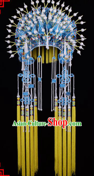 Traditional Beijing Opera Diva Hair Accessories Imperial Concubine Phoenix Coronet, Ancient Chinese Peking Opera Hua Tan Hat Tassel Headwear