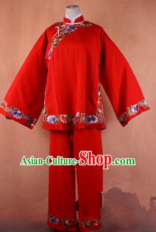 Top Grade Professional Beijing Old Women Costume Pantaloon Embroidered Red Blouse, Traditional Ancient Chinese Peking Opera Matchmakers Embroidery Clothing
