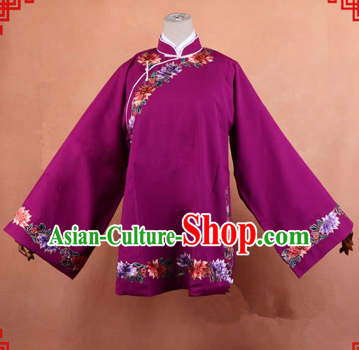 Top Grade Professional Beijing Old Women Costume Pantaloon Embroidered Purple Blouse, Traditional Ancient Chinese Peking Opera Matchmakers Embroidery Clothing