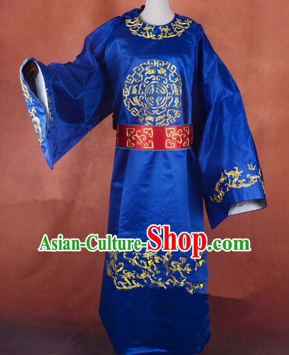 Top Grade Professional Beijing Opera Taoist Priest Costume Blue Embroidered Robe, Traditional Ancient Chinese Peking Opera Embroidery Gwanbok Clothing