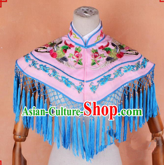 Top Grade Professional Beijing Opera Palace Lady Costume Hua Tan Pink Embroidered Cloud Shoulder, Traditional Ancient Chinese Peking Opera Diva Embroidery Clothing