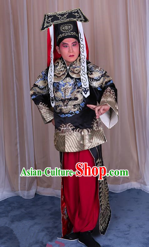 Traditional China Beijing Opera Takefu Black Silk Costume, Ancient Chinese Peking Opera Wu-Sheng Imperial Bodyguard Embroidery Gwanbok Clothing