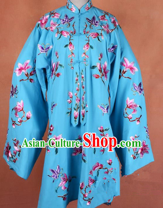 Top Grade Professional Beijing Opera Young Lady Costume Hua Tan Blue Embroidered Outerwear, Traditional Ancient Chinese Peking Opera Diva Embroidery Mangnolia Clothing