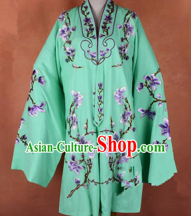Top Grade Professional Beijing Opera Young Lady Costume Hua Tan Green Embroidered Outerwear, Traditional Ancient Chinese Peking Opera Diva Embroidery Mangnolia Clothing