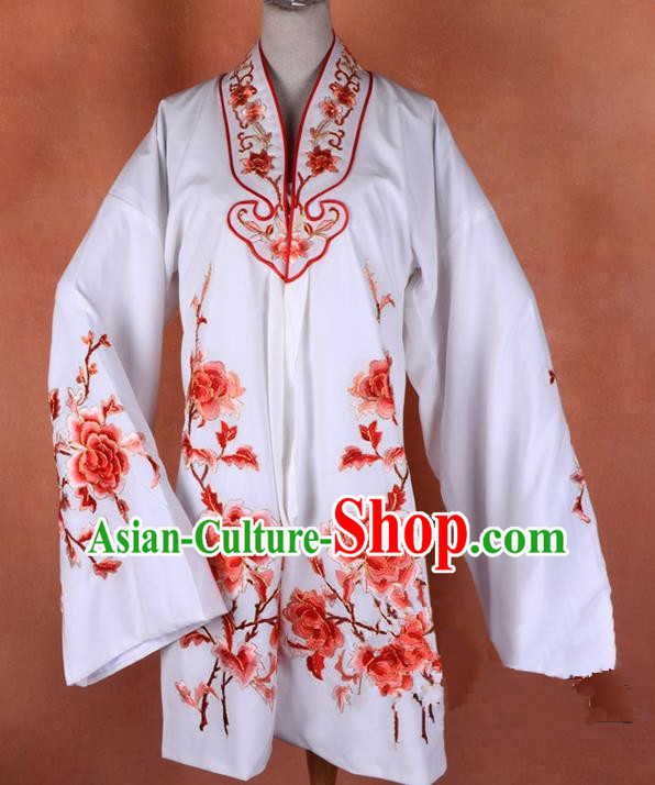Top Grade Professional Beijing Opera Young Lady Costume Hua Tan White Embroidered Outerwear, Traditional Ancient Chinese Peking Opera Diva Embroidery Mangnolia Clothing