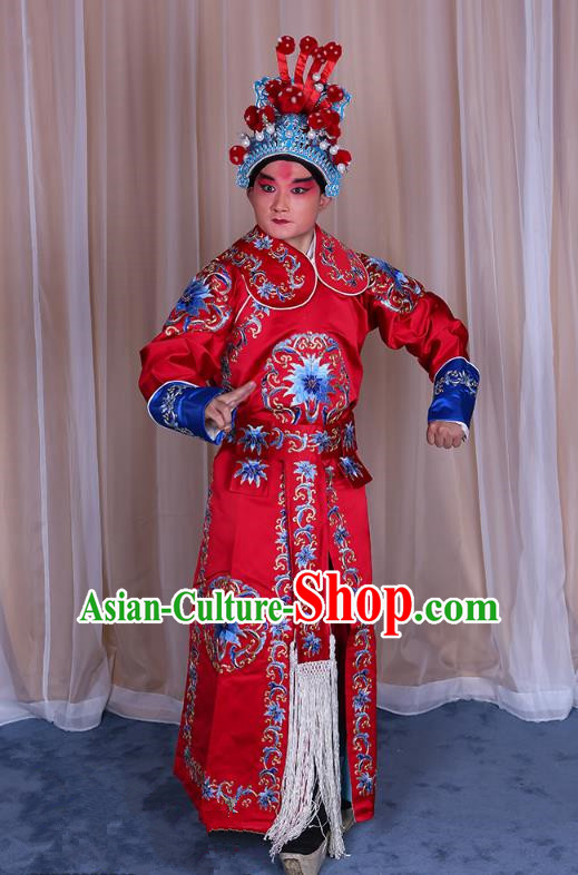 Traditional China Beijing Opera Takefu General Costume, Ancient Chinese Peking Opera Wu-Sheng Warrior Embroidery Red Clothing