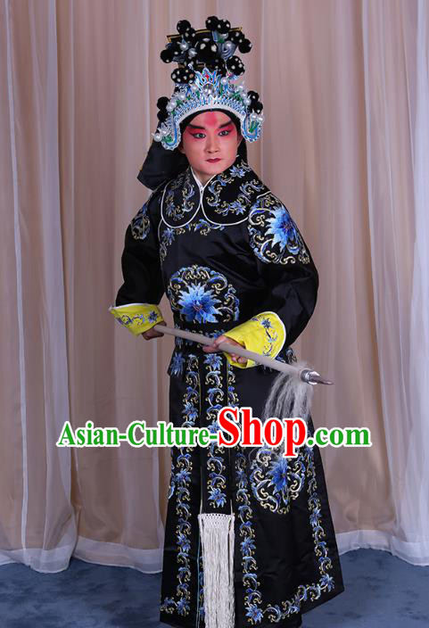 Traditional China Beijing Opera Takefu General Costume, Ancient Chinese Peking Opera Wu-Sheng Warrior Embroidery Black Clothing