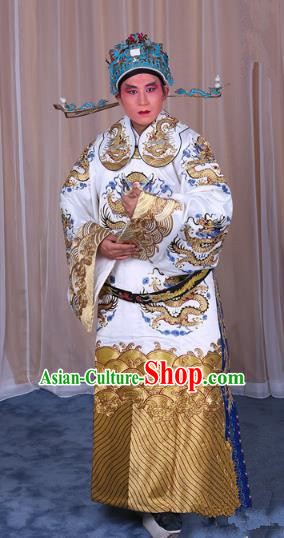 Top Grade Professional Beijing Opera Emperor Costume White Embroidered Robe Gwanbok, Traditional Ancient Chinese Peking Opera Royal Highness Embroidery Dragons Clothing