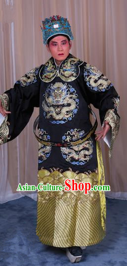 Top Grade Professional Beijing Opera Emperor Costume Black Embroidered Robe Gwanbok, Traditional Ancient Chinese Peking Opera Royal Highness Embroidery Dragons Clothing