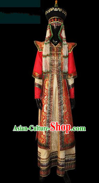 Traditional Chinese Mongol Nationality Dance Costume Complete Set, Mongols Female Folk Dance Ethnic Wedding Robe, Chinese Mongolian Minority Nationality Embroidery Costume for Women