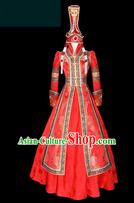 Traditional Chinese Mongol Nationality Costume Queen Red Bubble Dress, Chinese Mongolian Minority Nationality Princess Embroidery Wedding Clothing for Women