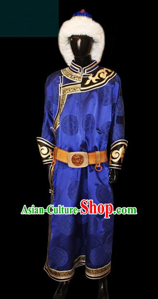 Traditional Chinese Mongol Nationality Dance Costume Blue Mongolian Robe, Chinese Mongolian Minority Nationality Royal Highness Embroidery Costume for Men