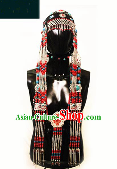 Traditional Chinese Mongol Nationality Princess Hair Accessories, Chinese Mongolian Minority Nationality Headwear for Women