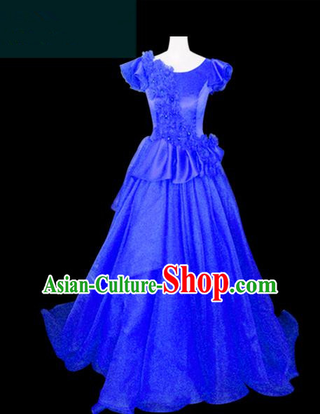 Traditional Chinese Modern Dancing Compere Performance Costume Chorus Singing Group Dance Wedding Blue Dress for Women