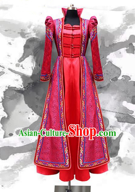 Traditional Chinese Mongol Nationality Bride Wedding Costume, Chinese Mongolian Minority Nationality Wedding Mongolian Robe for Women