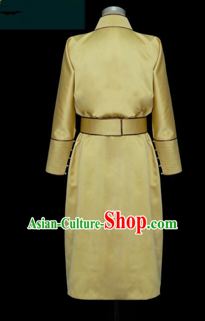 Traditional Chinese Mongol Nationality Costume Yellow Dress, Chinese Mongolian Minority Nationality Princess Mongolian Robe for Women