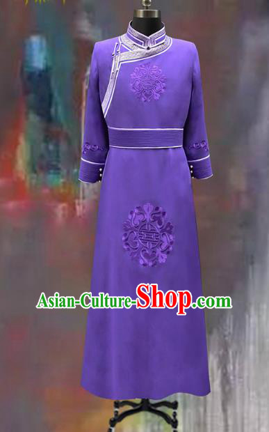 Traditional Chinese Mongol Nationality Costume Wedding Clothing, Chinese Mongolian Minority Nationality Bridegroom Purple Mongolian Robe for Men