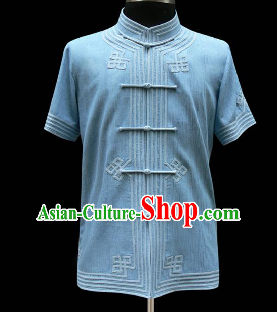 Traditional Chinese Mongol Nationality Costume Blue Shirt, Chinese Mongolian Minority Nationality Upper Outer Garment for Men