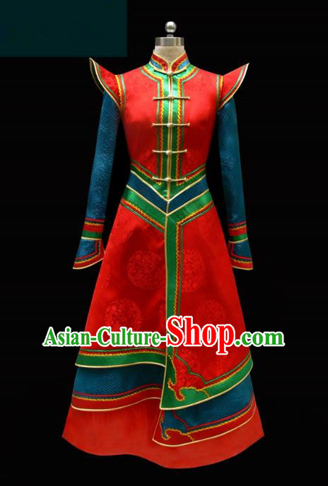 Traditional Chinese Mongol Nationality Costume Princess Red Mongolian Robe, Chinese Mongolian Minority Nationality Wedding Dress Clothing for Women