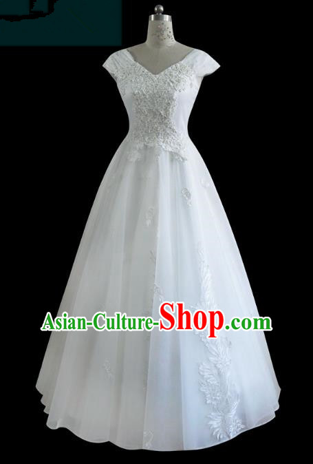 Traditional Chinese Wedding Costume Bride Dress, Chinese Modern Dance Wedding Veil Dress for Women