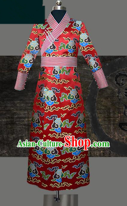 Traditional Chinese Mongol Nationality Dance Costume Red Wedding Mongolian Robe, Chinese Mongolian Minority Nationality Royal Highness Embroidery Costume for Men