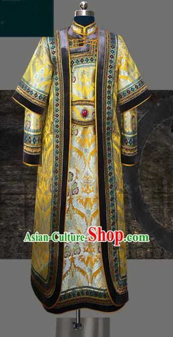 Traditional Chinese Mongol Nationality Dance Costume Golden Wedding Mongolian Robe, Chinese Mongolian Minority Nationality Royal Highness Embroidery Costume for Men