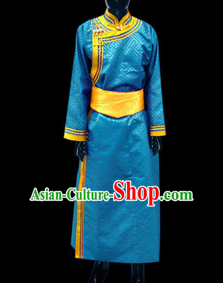 Traditional Chinese Mongol Nationality Dance Costume Wedding Clothing, Chinese Mongolian Minority Nationality Bridegroom Light Blue Mongolian Robe for Men
