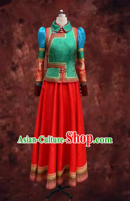 Traditional Chinese Mongol Nationality Dance Costume Female Red Pleated Skirt, Chinese Mongolian Minority Nationality Princess Embroidery Mongolian Robe for Women