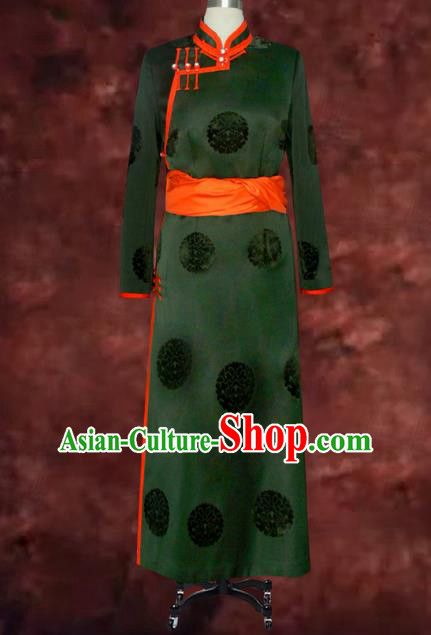 Traditional Chinese Mongol Nationality Costume Green Mongolian Robe, Chinese Mongolian Minority Nationality Clothing for Men