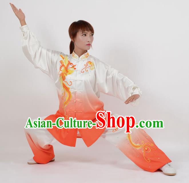Top Kung Fu Costume Martial Arts Costume Kung Fu Training Orange Uniform, Gongfu Shaolin Wushu Embroidery Phoenix Tai Ji Clothing for Women