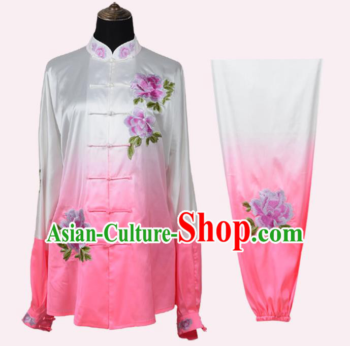 Top Kung Fu Costume Martial Arts Costume Kung Fu Training Pink Uniform, Gongfu Shaolin Wushu Embroidery Peony Tai Ji Clothing for Women