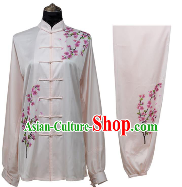 Top Kung Fu Costume Martial Arts Costume Kung Fu Training Light Pink Uniform, Gongfu Shaolin Wushu Embroidery Plum Blossom Tai Ji Clothing for Women