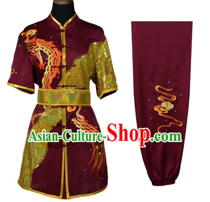 Top Kung Fu Costume Martial Arts Costume Kung Fu Training Dark Red Uniform, Gongfu Shaolin Wushu Embroidery Dragon Tai Ji Clothing for Women