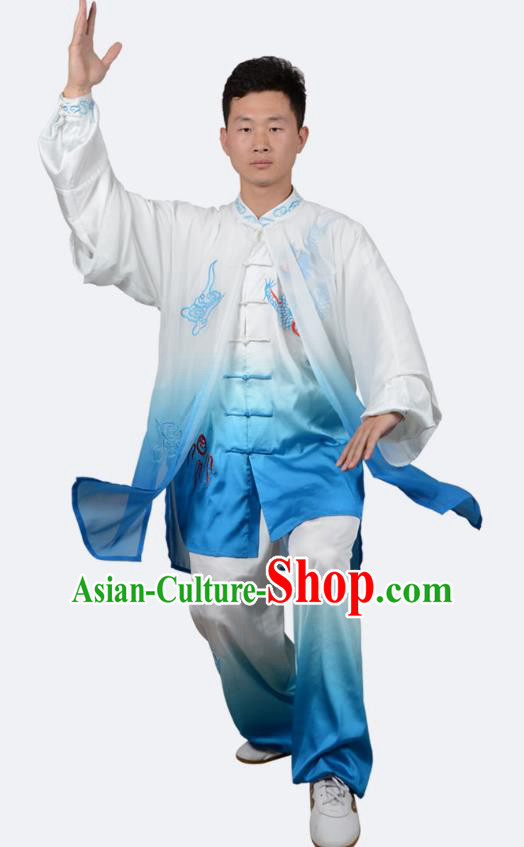 Top Kung Fu Costume Martial Arts Costume Kung Fu Training Blue Uniform, Gongfu Shaolin Wushu Embroidery Dragon Tai Ji Clothing for Women for Men